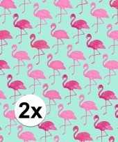 2x inpakpapier met flamingo motief 200 x 70 cm op rol type 2