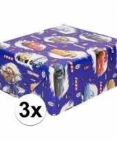 3x disney inpakpapier cadeaupapier cars blauw 200 x 70 cm op rol
