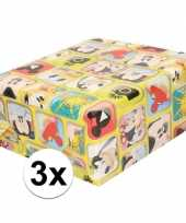 3x disney inpakpapier cadeaupapier mickey mouse 200 x 70 cm rol