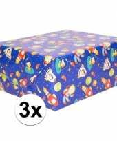 3x inpakpapier cadeaupapier blauw ruimte thema 200 x 70cm op rol