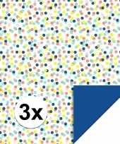 3x inpakpapier cadeaupapier confetti 200 x 70 cm gekleurd