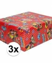 3x inpakpapier cadeaupapier disney mickey mouse 200 x 70 cm rood