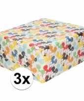 3x inpakpapier cadeaupapier disney mickey mouse 200 x 70 cm