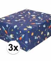 3x inpakpapier cadeaupapier donkerblauw raketten 200 x 70 cm rol