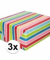 3x inpakpapier cadeaupapier gekleurde streepjes 200 x 70 cm