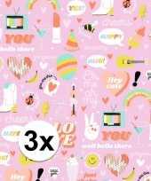 3x inpakpapier cadeaupapier girlpower 200 x 70 cm roze