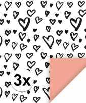 3x inpakpapier cadeaupapier hartjes 200 x 70 cm wit zwart roze
