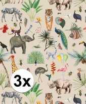 3x inpakpapier cadeaupapier jungle 200 x 70 cm