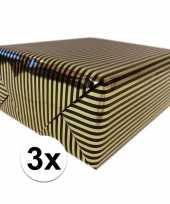 3x inpakpapier cadeaupapier metallic goud zwart 150 x 70 cm