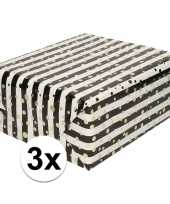 3x inpakpapier cadeaupapier metallic goud zwart wit 150 x 70 cm