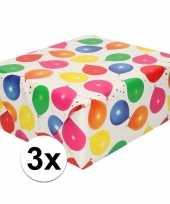 3x inpakpapier cadeaupapier metallic wit ballonnen 150 x 70 cm