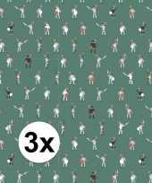 3x inpakpapier cadeaupapier ridder 200 x 70 cm groen wit