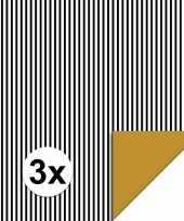 3x inpakpapier cadeaupapier streepjes 200 x 70 cm zwart wit