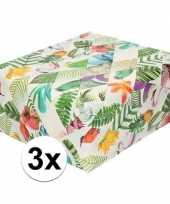 3x inpakpapier cadeaupapier tropische vogels 200 x 70 cm