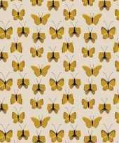 3x inpakpapier cadeaupapier vlinder 200 x 70 cm beige geel