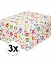 3x inpakpapier cadeaupapier wit en gekleurde uiltjes 200 x 70 cm