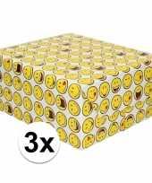3x inpakpapier cadeaupapier wit met smileys 200 x 70 cm