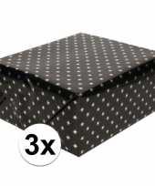 3x inpakpapier holografisch zwart sterren 150 x 70 cm per rol