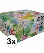 3x inpakpapier met bloemen motief 200 x 70 cm op rol type 8