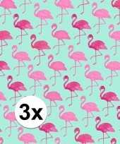 3x inpakpapier met flamingo motief 200 x 70 cm op rol type 2