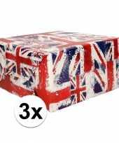 3x inpakpapier union jack 200 x 70 cm op rol