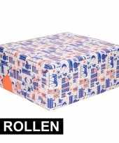 3x inpakpapier van sinterklaas paars