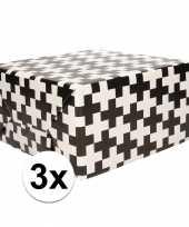 3x inpakpapier zwart wit patroon 200 x 70 cm op rol