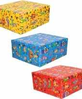 3x rollen inpakpapier cadeaupapier club van sinterklaas rood blauw geel 200 x 70 cm