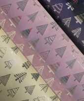 3x rollen kerst inpakpapier cadeaupapier beige donkerblauw roze 2 5 x 0 7 meter