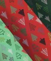 3x rollen kerst inpakpapier cadeaupapier lichtgroen donkergroen rood 2 5 x 0 7 meter