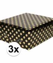 3x zwart folie inpakpapier cadeaupapier gouden stip 200 x 70 cm
