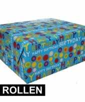 4x inpakpapier happy birthday 200 x 70 cm op rol