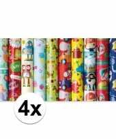 4x inpakpapier kinder verjaardag met monster 200 x 70 cm