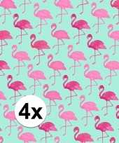4x inpakpapier met flamingo motief 200 x 70 cm op rol type 2