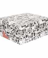 4x inpakpapier van sinterklaas zwart wit