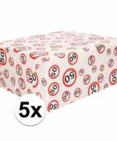 5x inpakpapier cadeaupapier 50 jaar 300 x 70 cm op rol