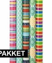 5x inpakpapier rollen voordeelpakket met verschillende prints 10124859