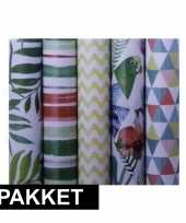 5x inpakpapier rollen voordeelpakket met verschillende prints