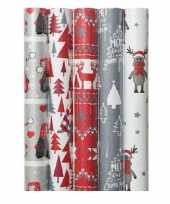 5x kerst inpakpapier met noorse prints 70 x 200 cm