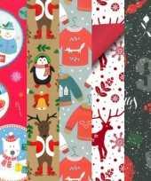 5x rollen kerst inpakpapier cadeaupapier diverse prints 2 5 x 0 7 meter voor kinderen