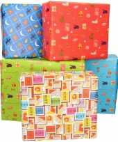 5x sinterklaas inpakpapier cadeaupapier gekleurd 2 5 x 0 7 meter