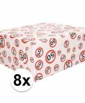8x inpakpapier cadeaupapier 50 jaar 300 x 70 cm op rol