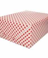 Bruiloft inpakpapier cadeaupapier rood hart print 200 x 70 cm