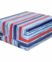 Inpakpapier cadeaupapier blauw rood gestreept 200 x 70 cm rol