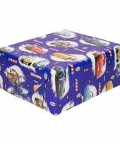 Inpakpapier cadeaupapier disney cars blauw 200x70 cm