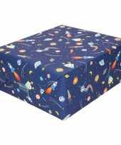 Inpakpapier cadeaupapier donkerblauw raketten 200 x 70 cm op rol