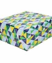 Inpakpapier cadeaupapier driehoeken blauw groen 200 x 70 cm rol