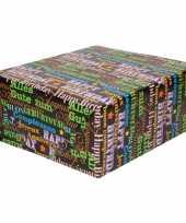 Inpakpapier cadeaupapier gekleurde tekst 200 x 70 cm rol