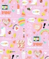 Inpakpapier cadeaupapier girlpower 200 x 70 cm roze
