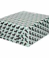 Inpakpapier cadeaupapier grafische print 200 x 70 cm zwart blauw